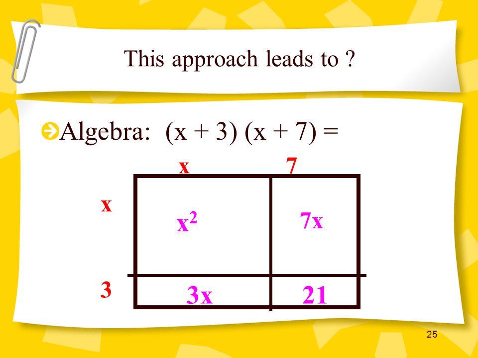 Algebra: (x + 3) (x + 7) = x2 3x 21 This approach leads to x 7 x 7x