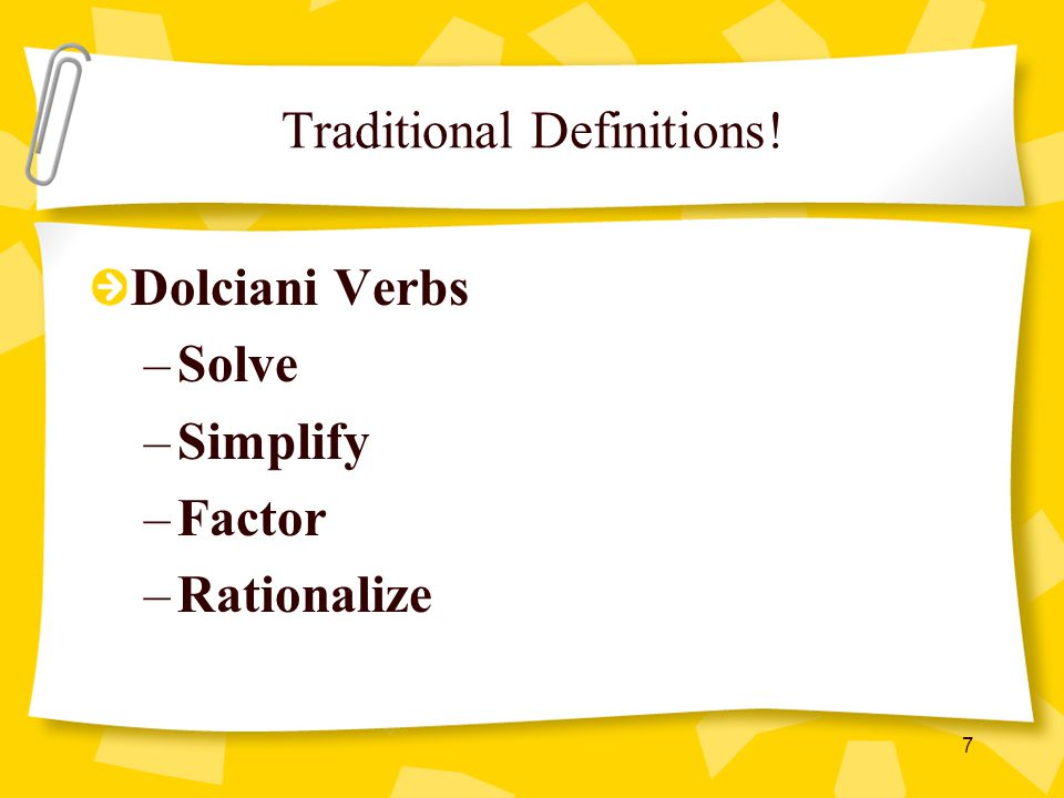 Traditional Definitions!