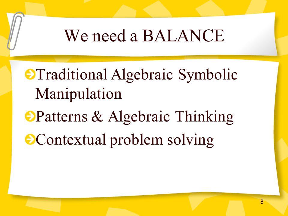 We need a BALANCE Traditional Algebraic Symbolic Manipulation