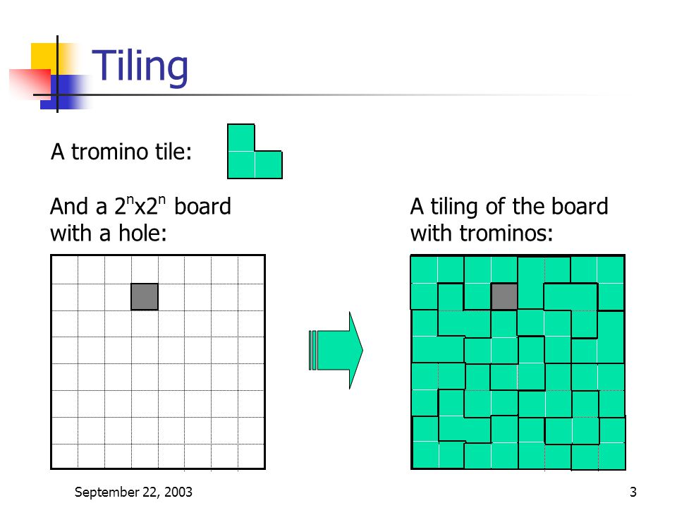 Tiling A tromino tile: And a 2nx2n board with a hole: