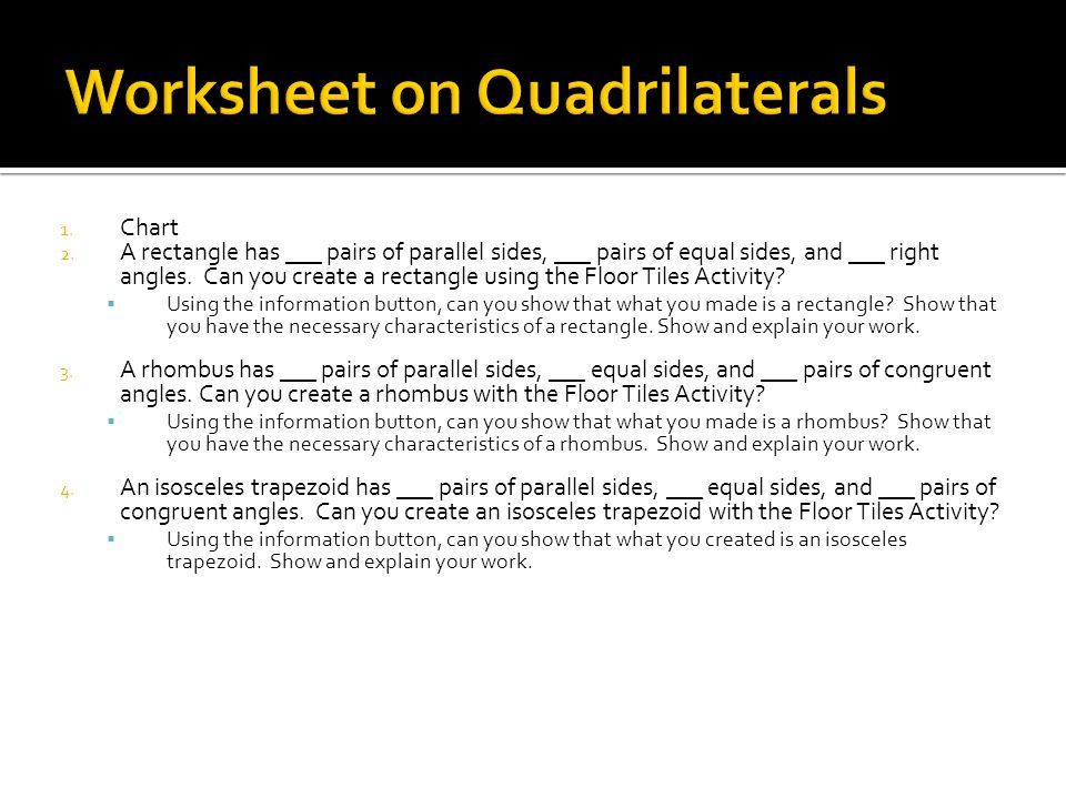 Worksheet on Quadrilaterals