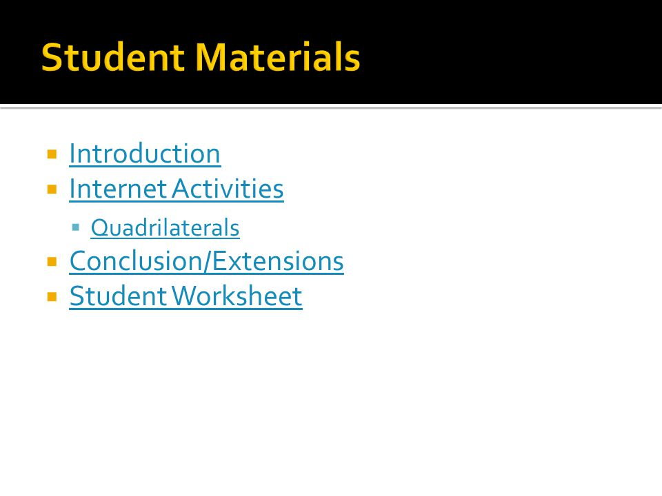 Student Materials Introduction Internet Activities
