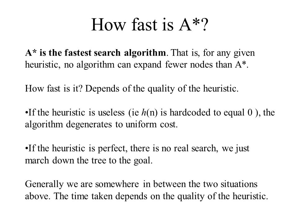 How fast is A* A* is the fastest search algorithm. That is, for any given heuristic, no algorithm can expand fewer nodes than A*.