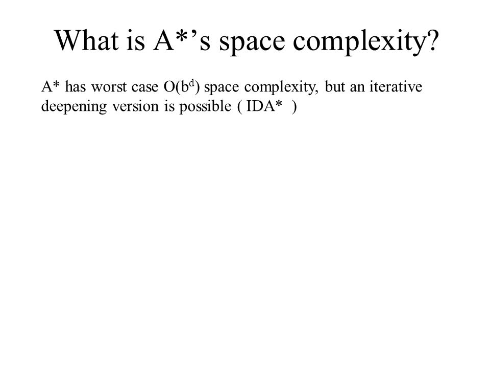 What is A*'s space complexity