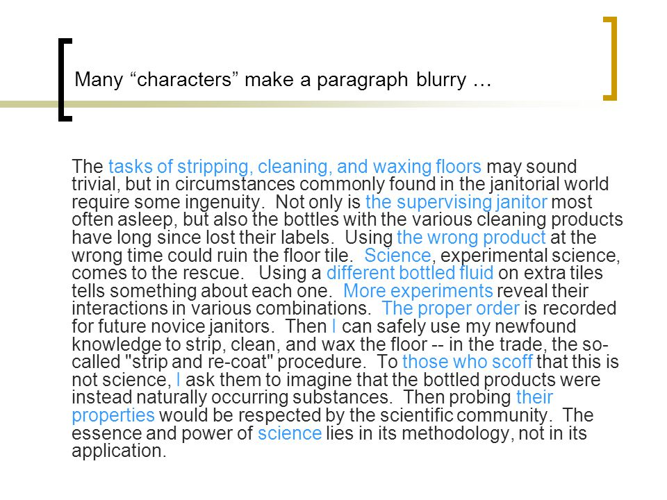 Many characters make a paragraph blurry …