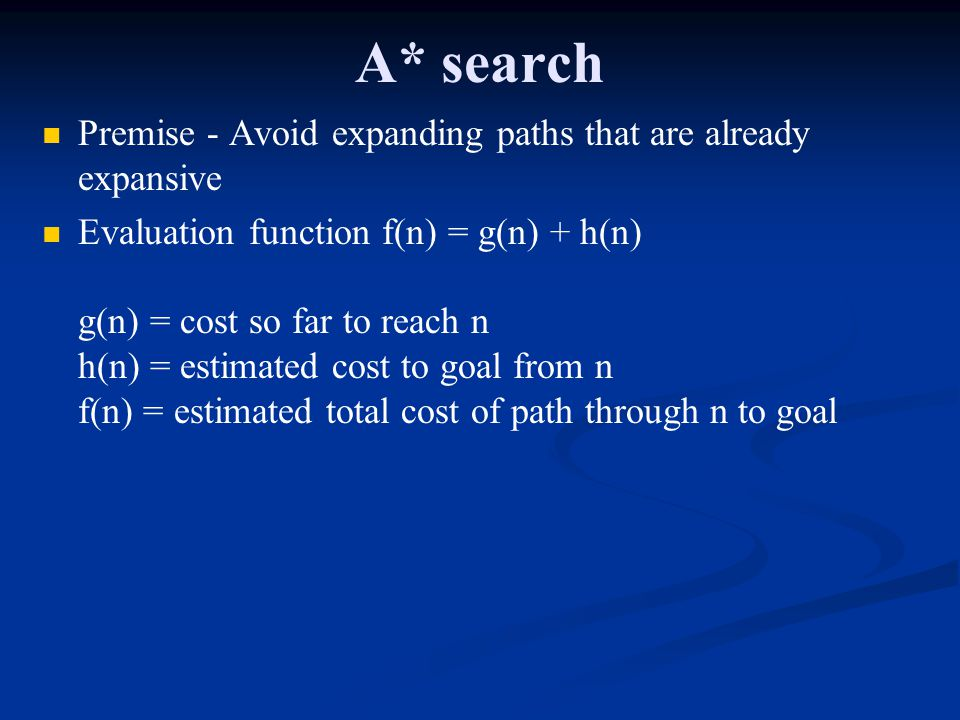 A* search Premise - Avoid expanding paths that are already expansive
