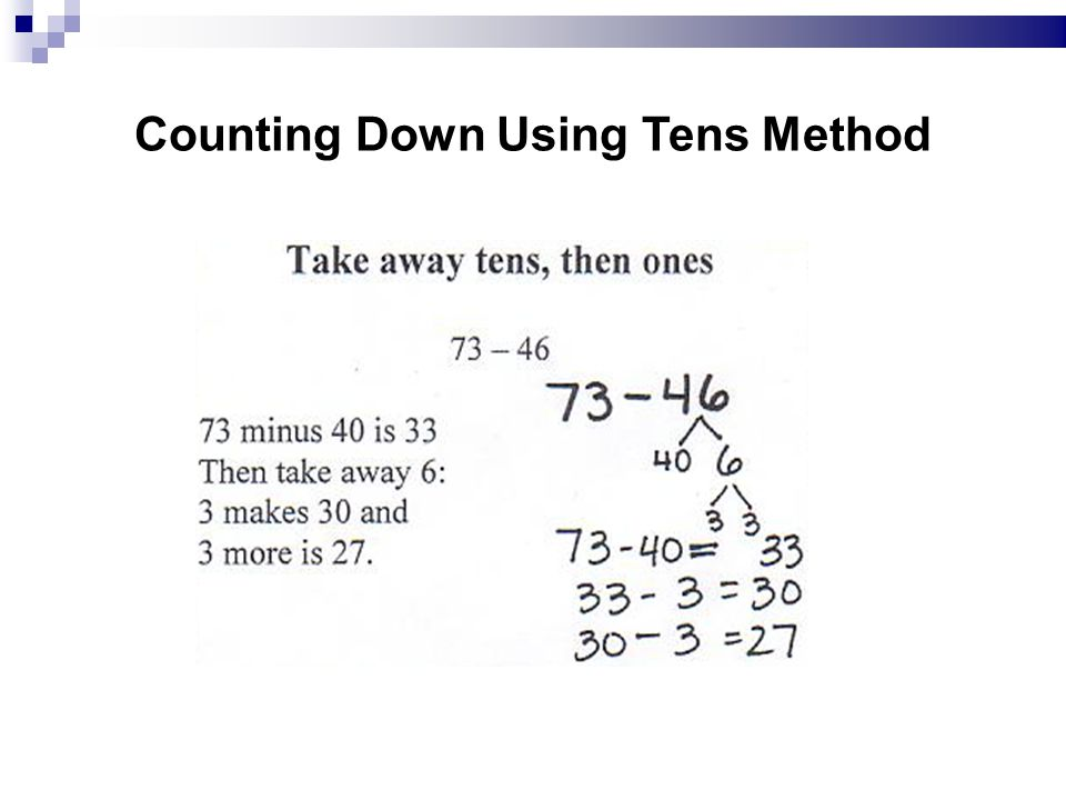 Counting Down Using Tens Method