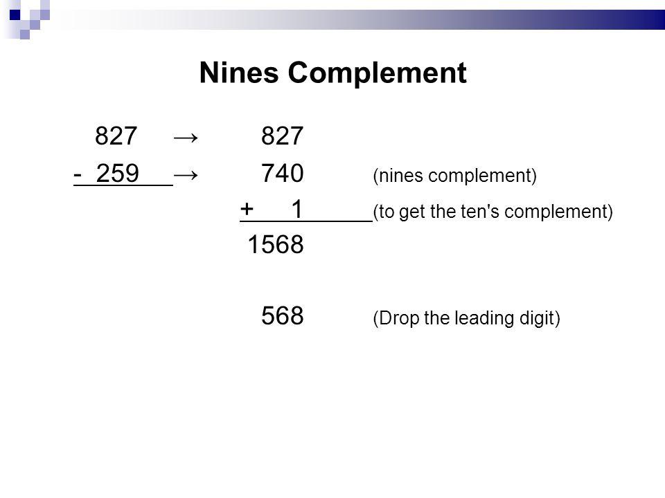 Nines Complement 827 → 827 - 259 → 740 (nines complement)