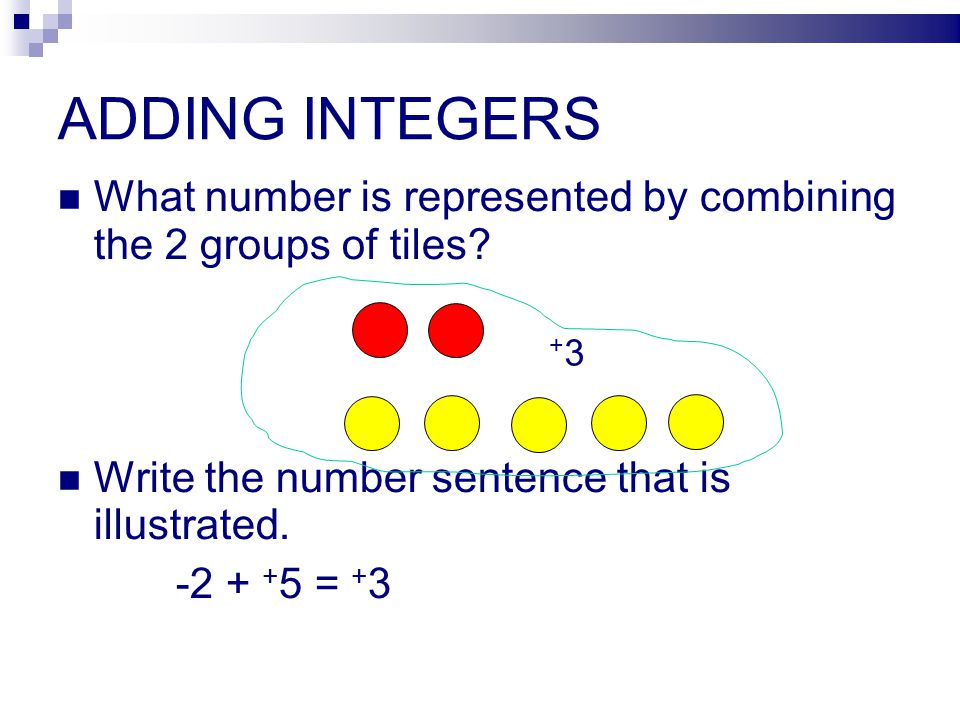 ADDING INTEGERS What number is represented by combining the 2 groups of tiles Write the number sentence that is illustrated.