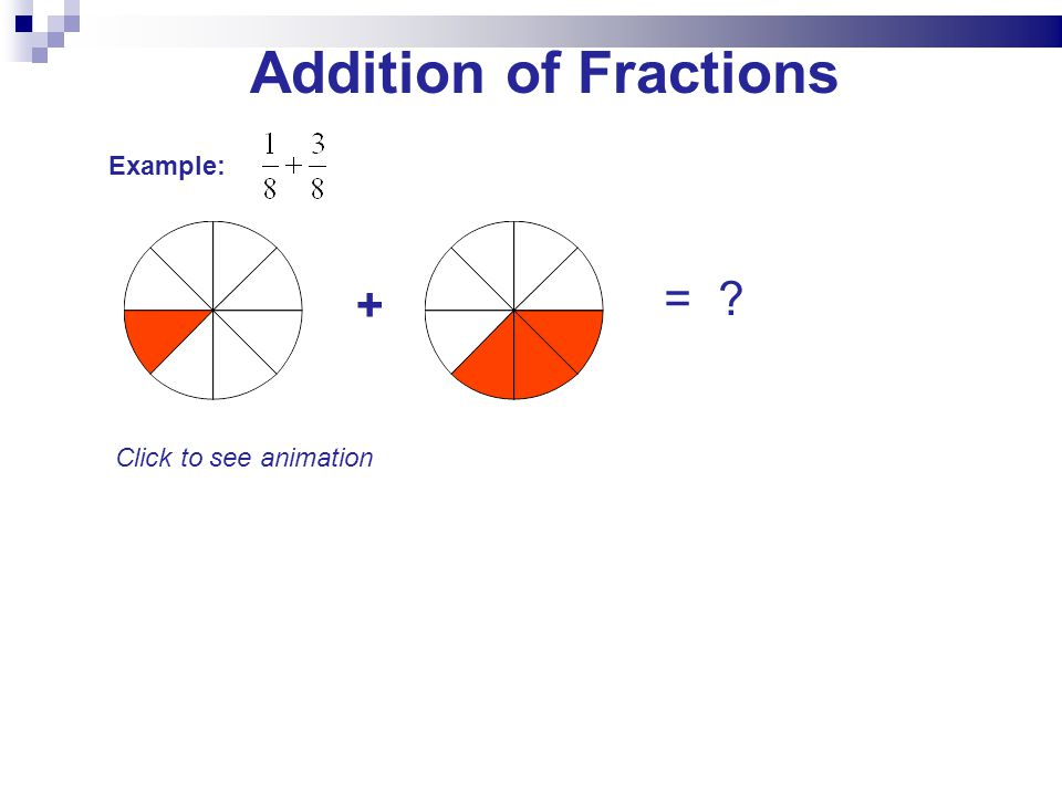 Addition of Fractions Example: + = Click to see animation