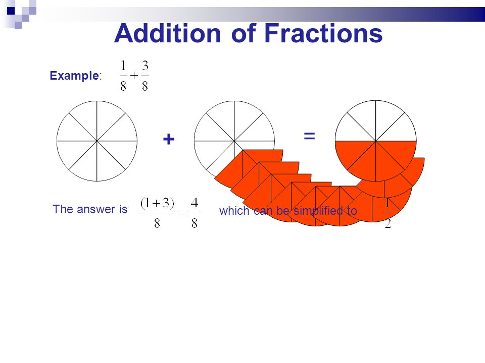 Addition of Fractions = + Example: The answer is