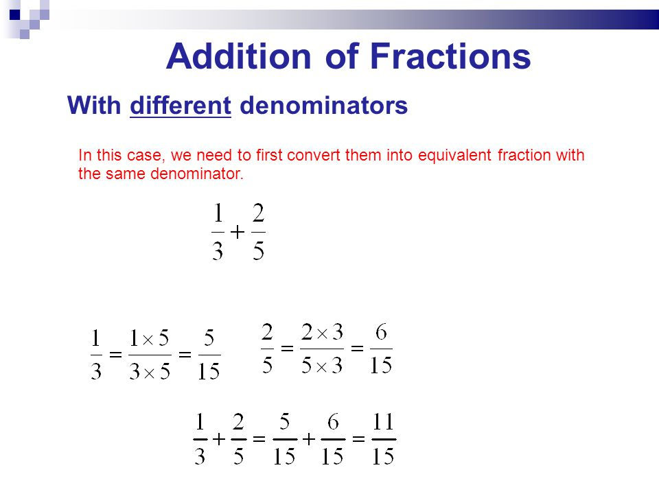 Addition of Fractions With different denominators