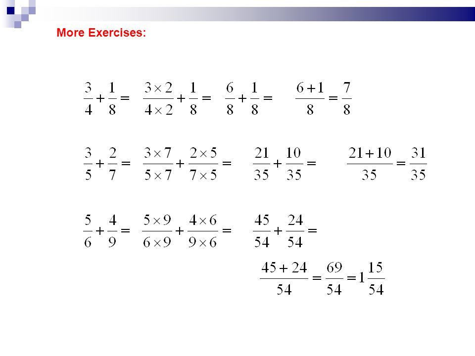 More Exercises: = = = = = = = = =