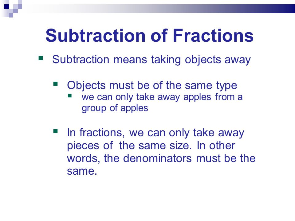 Subtraction of Fractions
