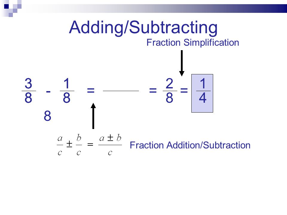 Adding/Subtracting 3 3 1 1 2 1 - - = = = 8 8 8 8 8 4 8
