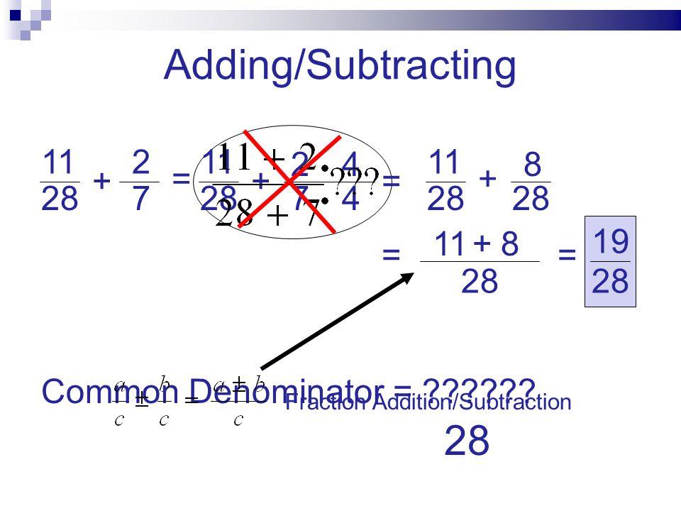 Adding/Subtracting 28 11 2 28 11 2 4 28 11 28 8 + = + = + 28 7 7 4 +