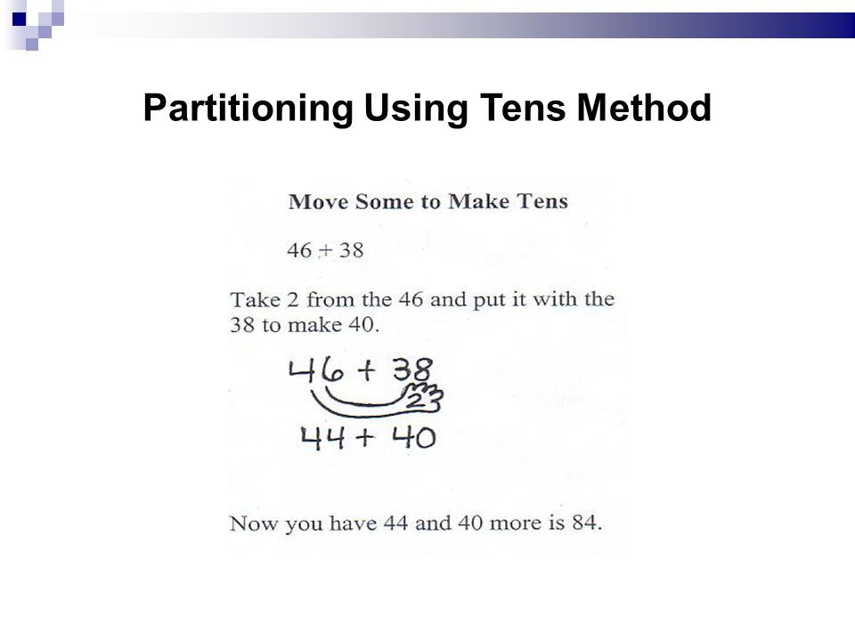 Partitioning Using Tens Method