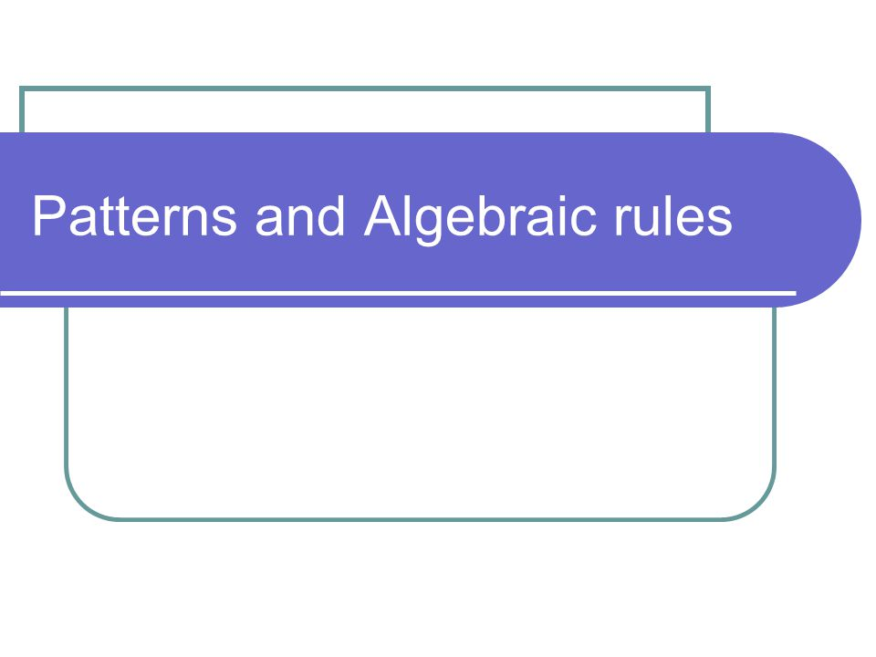 Patterns and Algebraic rules