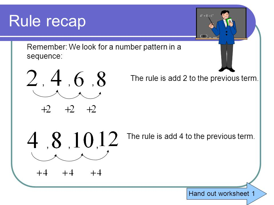 Rule recap Remember: We look for a number pattern in a sequence: The rule is add 2 to the previous term.