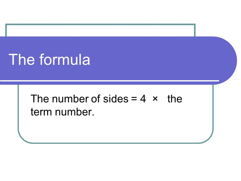 The number of sides = 4 × the term number.