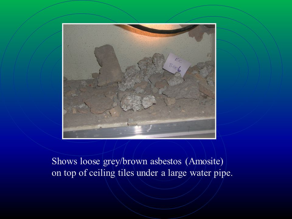Shows loose grey/brown asbestos (Amosite) on top of ceiling tiles under a large water pipe.