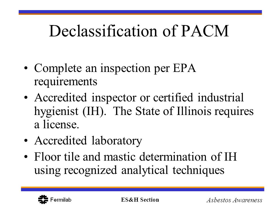Declassification of PACM