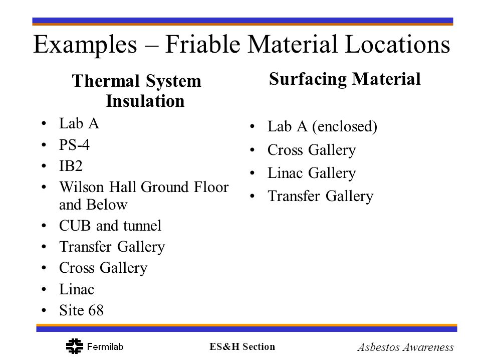 Examples – Friable Material Locations