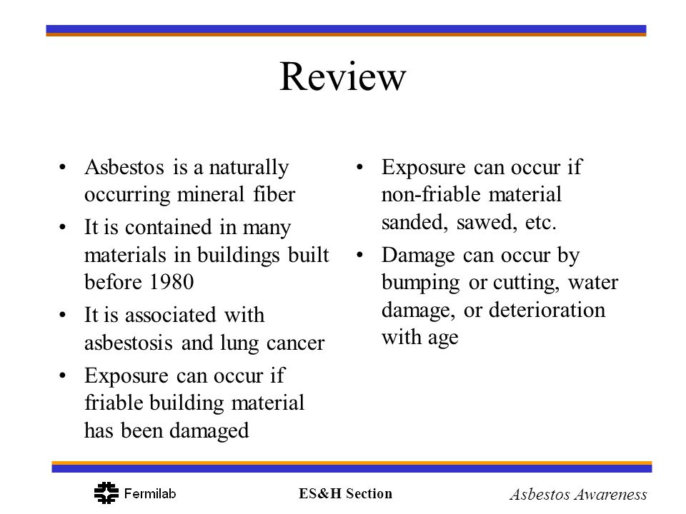 Review Asbestos is a naturally occurring mineral fiber