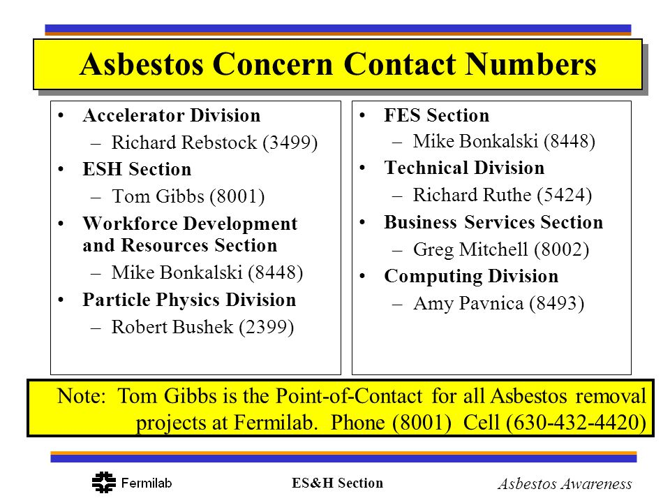 Asbestos Concern Contact Numbers