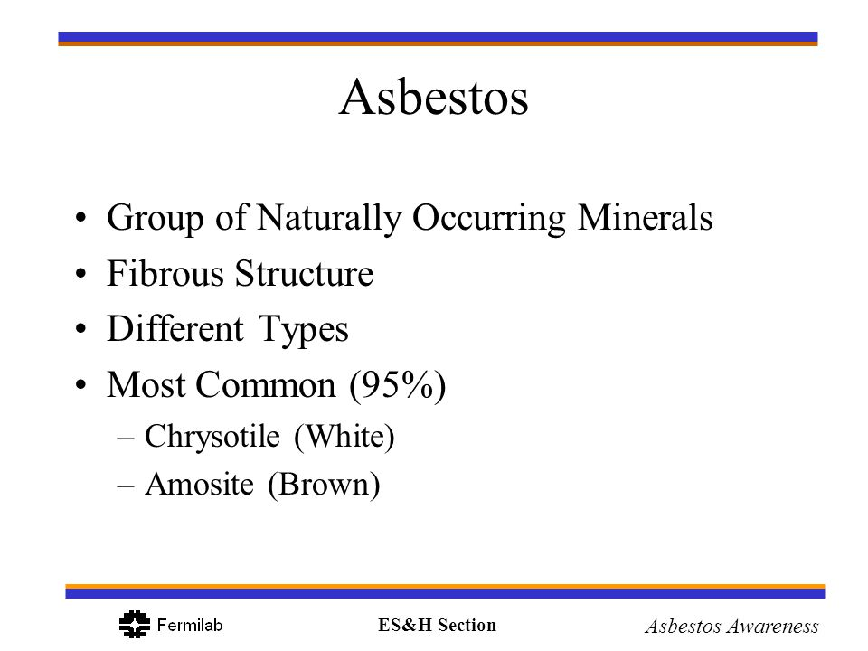 Asbestos Group of Naturally Occurring Minerals Fibrous Structure