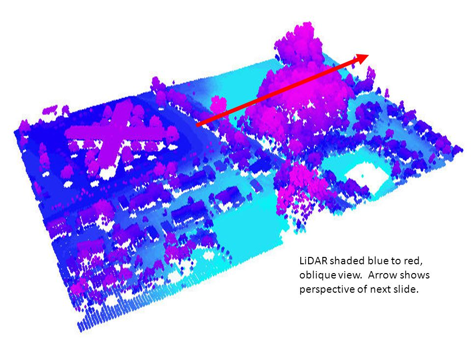 LiDAR shaded blue to red, oblique view