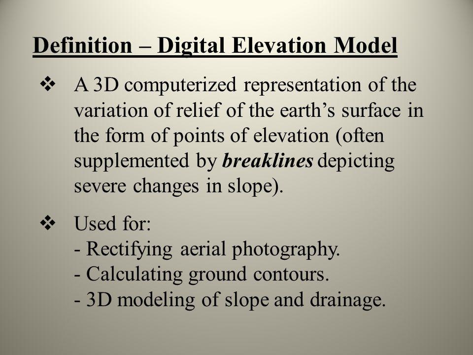 Definition – Digital Elevation Model
