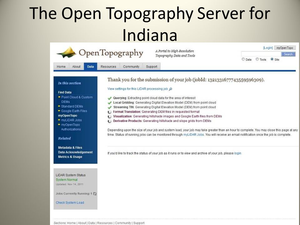 The Open Topography Server for Indiana