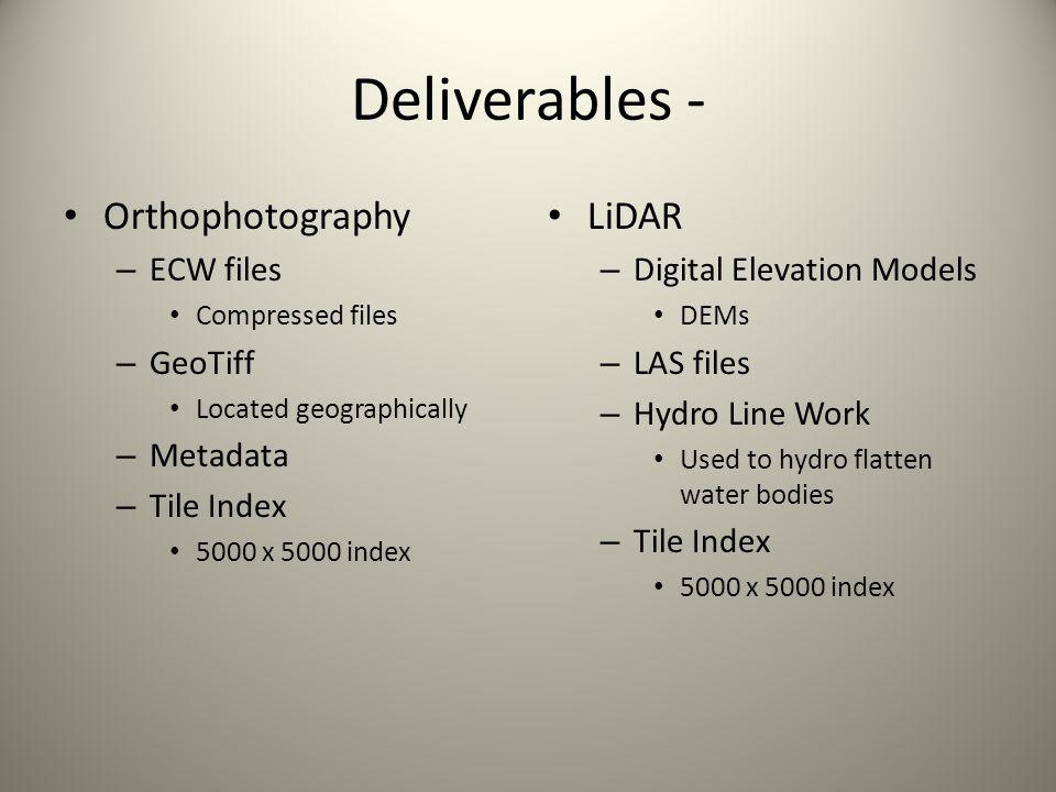 Deliverables - Orthophotography LiDAR ECW files GeoTiff Metadata