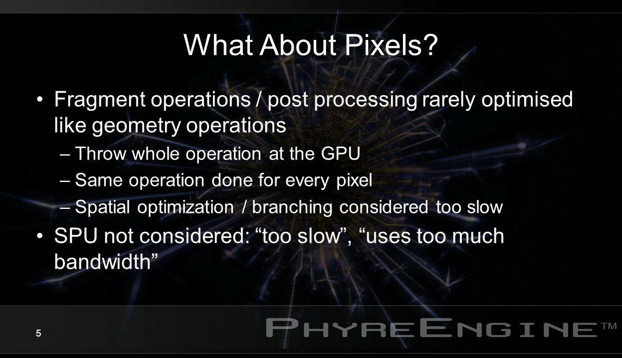 What About Pixels Fragment operations / post processing rarely optimised like geometry operations.