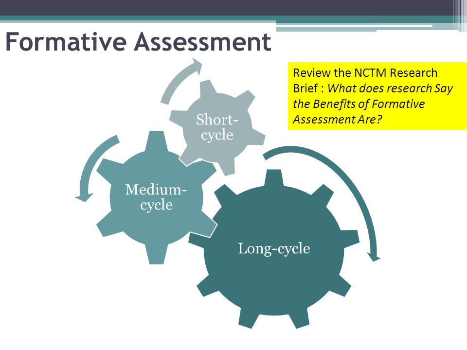 Formative Assessment Review the NCTM Research Brief : What does research Say the Benefits of Formative Assessment Are