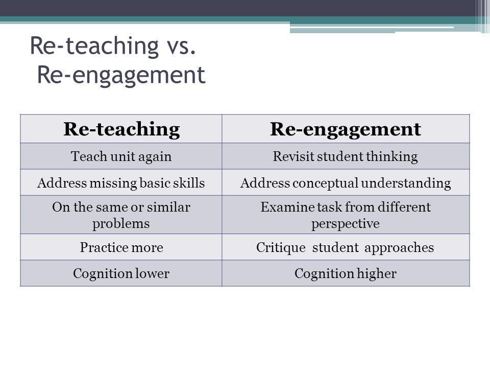 Re-teaching vs. Re-engagement