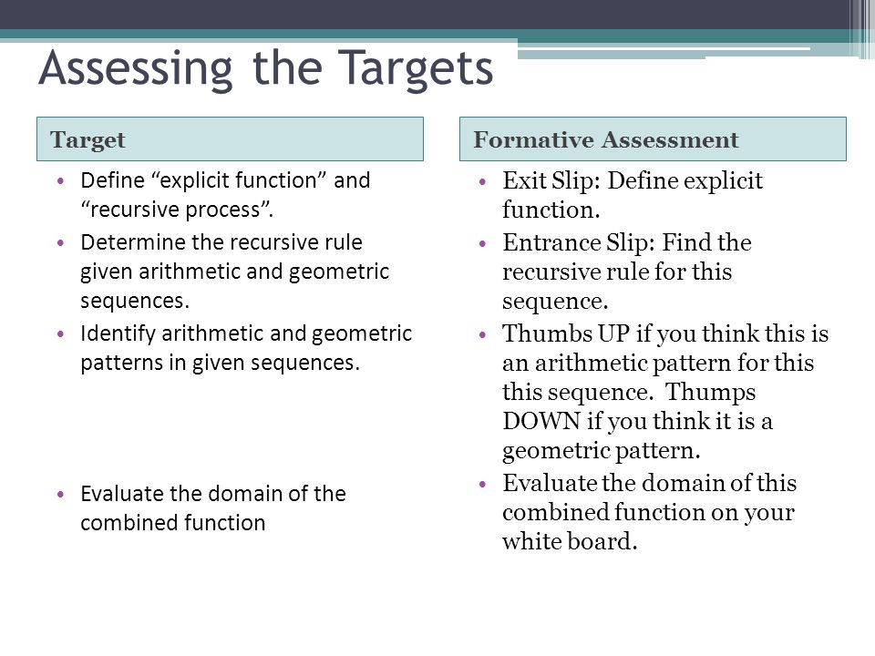 Assessing the Targets Target. Formative Assessment. Define explicit function and recursive process .
