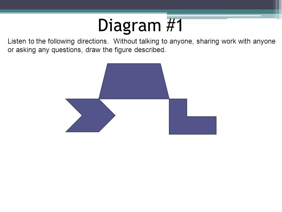 Diagram #1 Listen to the following directions. Without talking to anyone, sharing work with anyone.