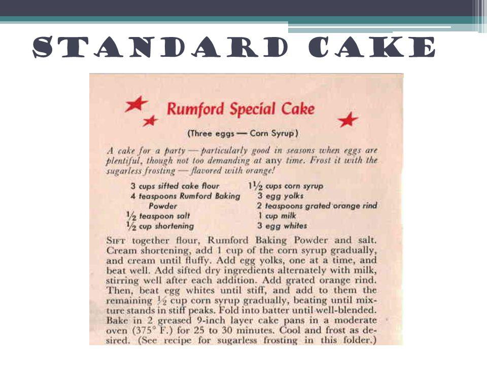Standard Cake Ingredients/cake analogy to targets/standards
