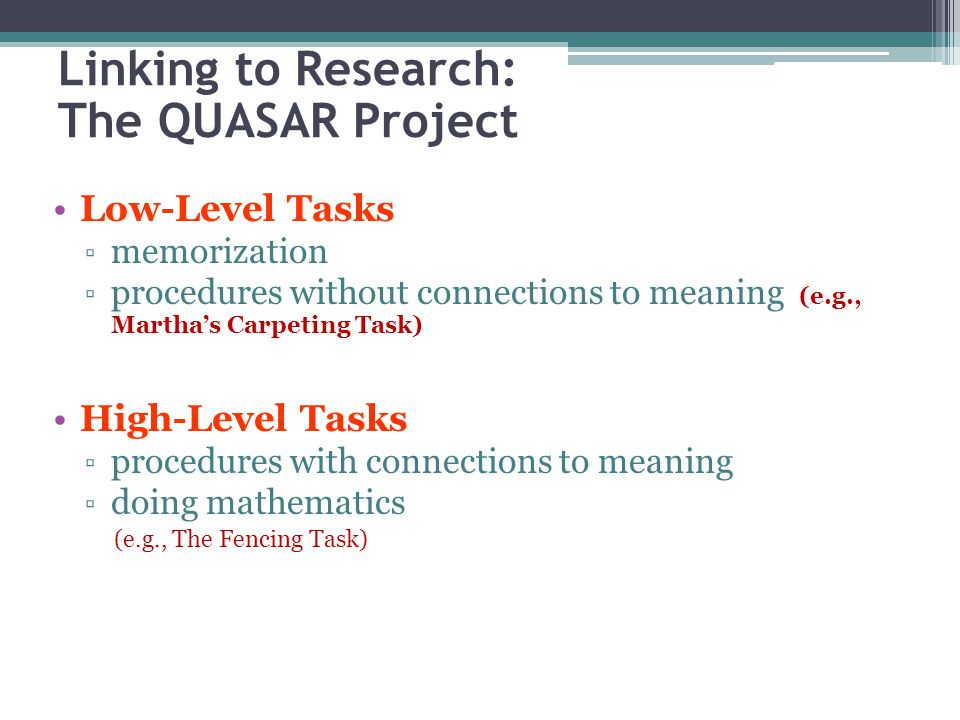 Linking to Research: The QUASAR Project