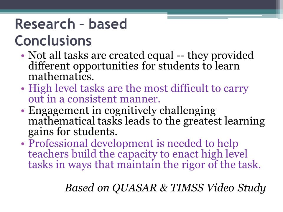Research – based Conclusions