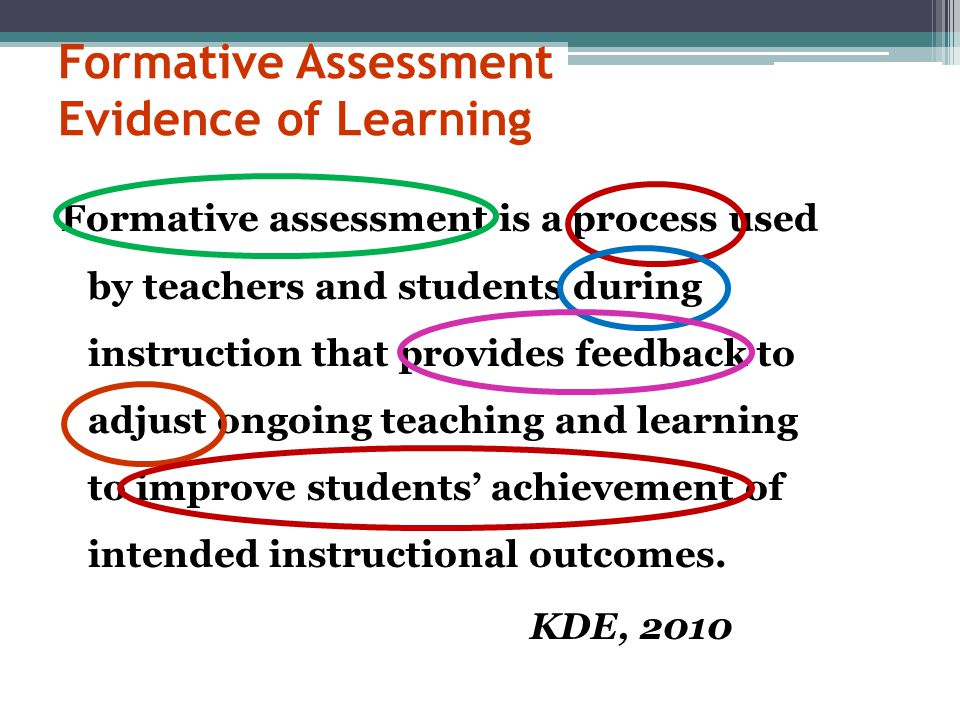 Formative Assessment Evidence of Learning