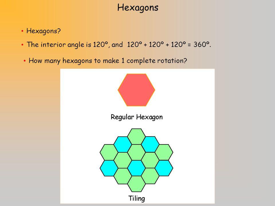 Hexagons Hexagons. The interior angle is 120º, and 120º + 120º + 120º = 360º.