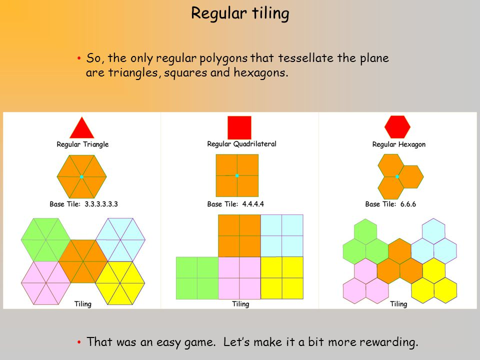 Regular tiling So, the only regular polygons that tessellate the plane are triangles, squares and hexagons.