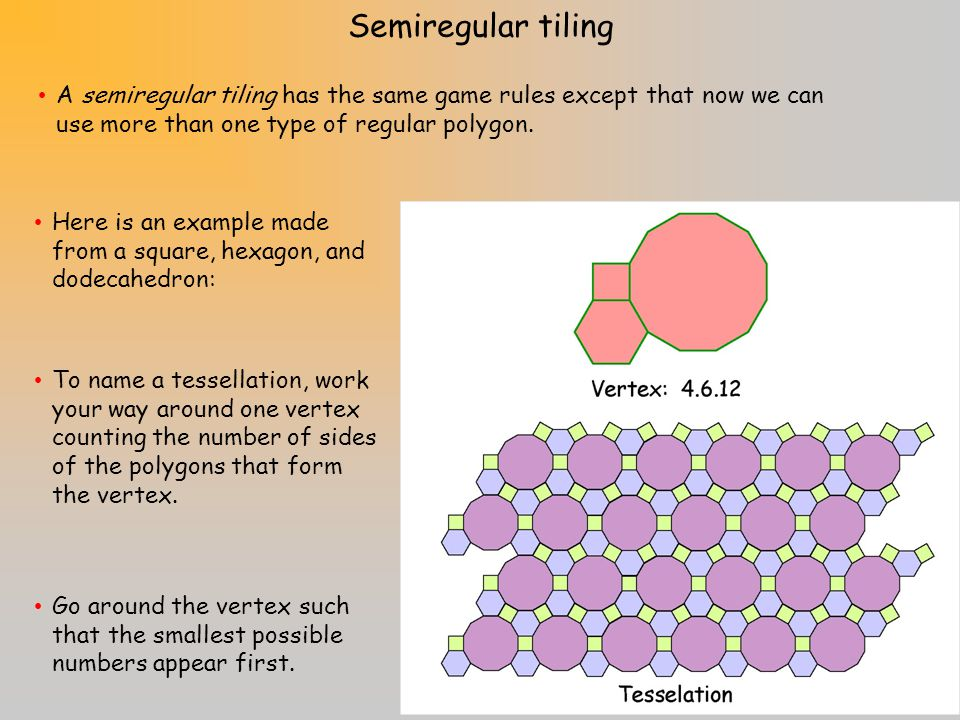 Semiregular tiling A semiregular tiling has the same game rules except that now we can use more than one type of regular polygon.