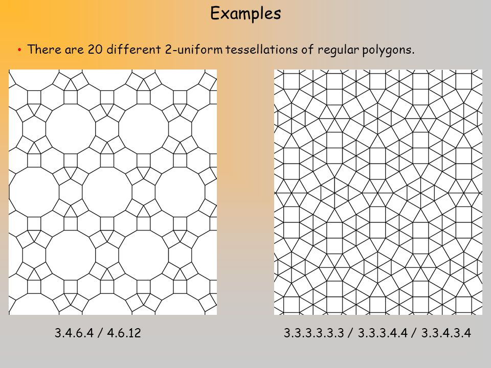 Examples There are 20 different 2-uniform tessellations of regular polygons.