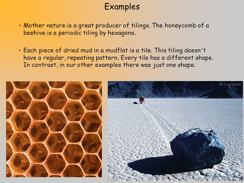 Examples Mother nature is a great producer of tilings. The honeycomb of a beehive is a periodic tiling by hexagons.