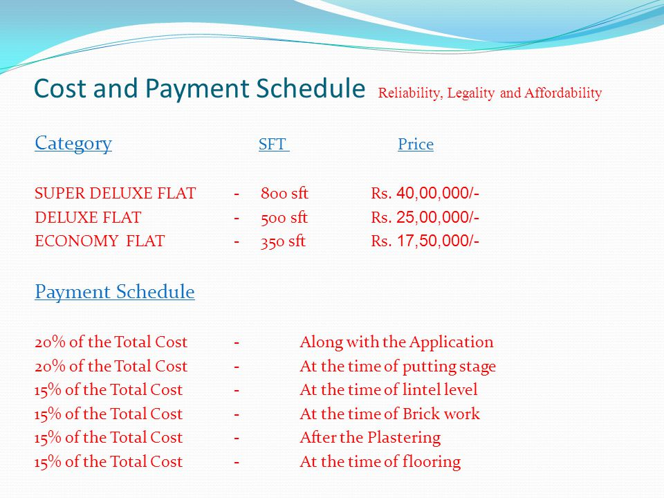 Cost and Payment Schedule Reliability, Legality and Affordability