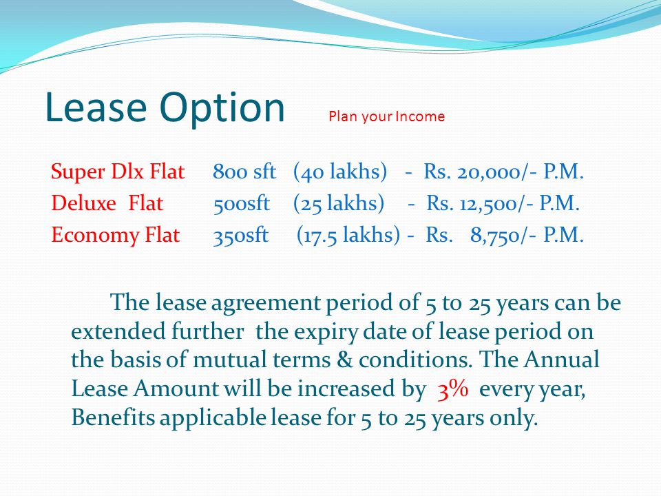 Lease Option Plan your Income